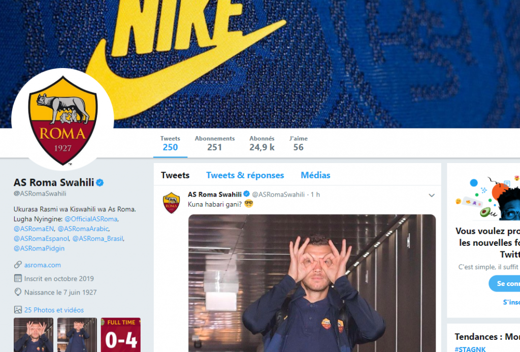Football: L'AS Roma a lancé un compte Twitter officiel en Swahili