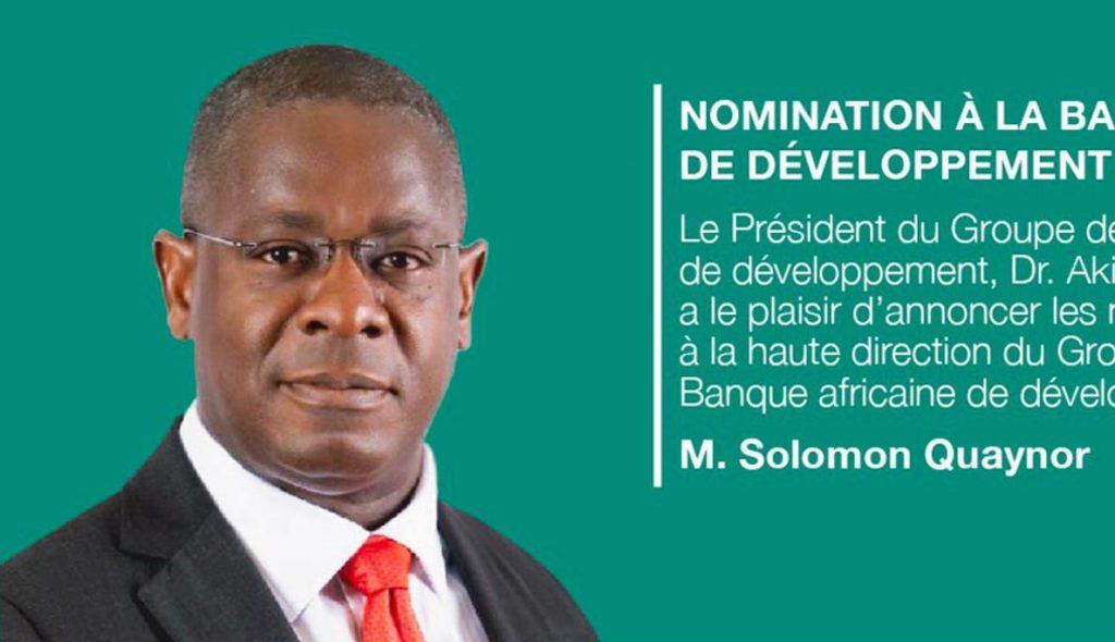 Solomon Quaynor, nommé Vice-président du Groupe de la Banque africaine de développement