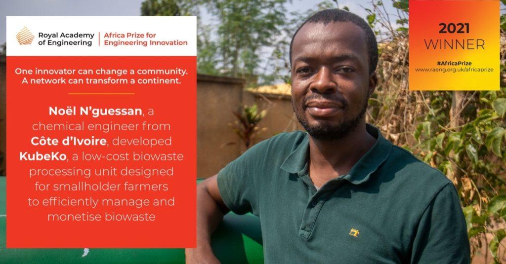 Noël N'guessan est le lauréat du Prix Afrique 2021 de l'innovation en ingénierie